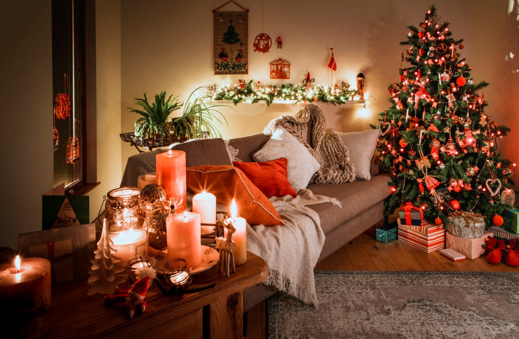 Danish Home at Christmas with Traditional Decorations Candles and Tree
