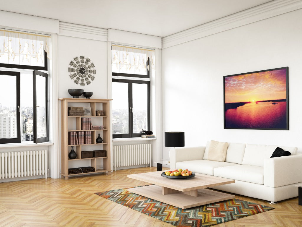 Elegant Scandinavian style living room with accent colors