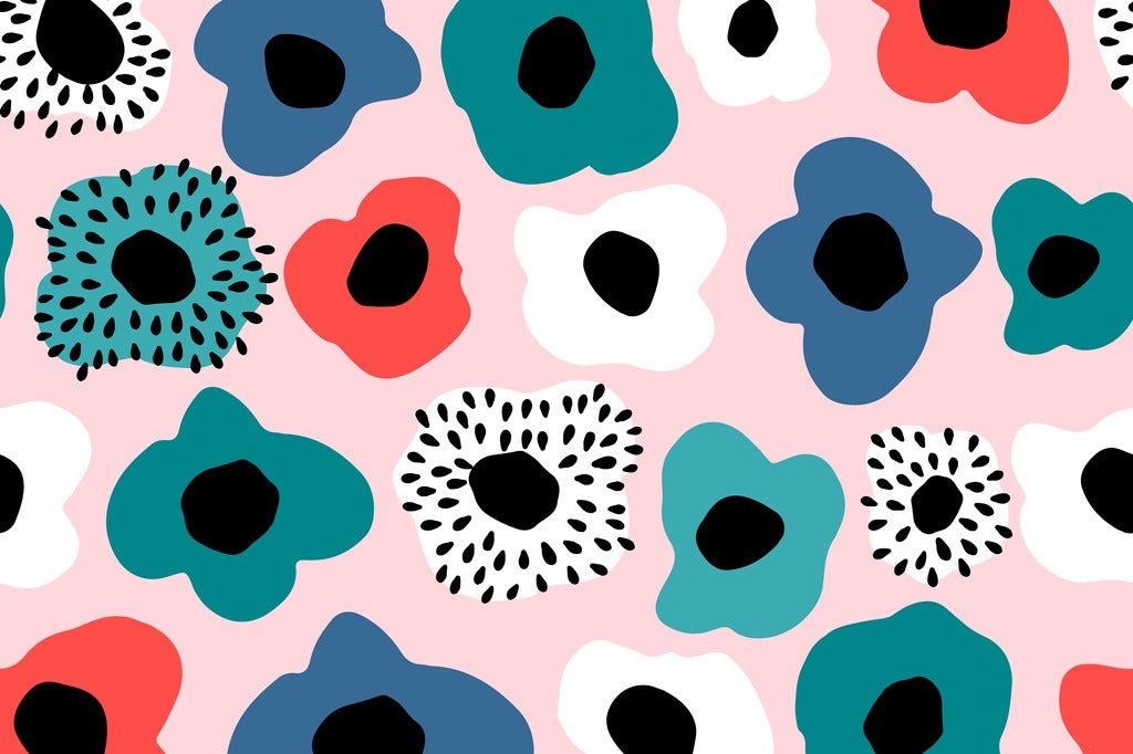 Scandinavian textile design with colorful flowers in Marimekko style