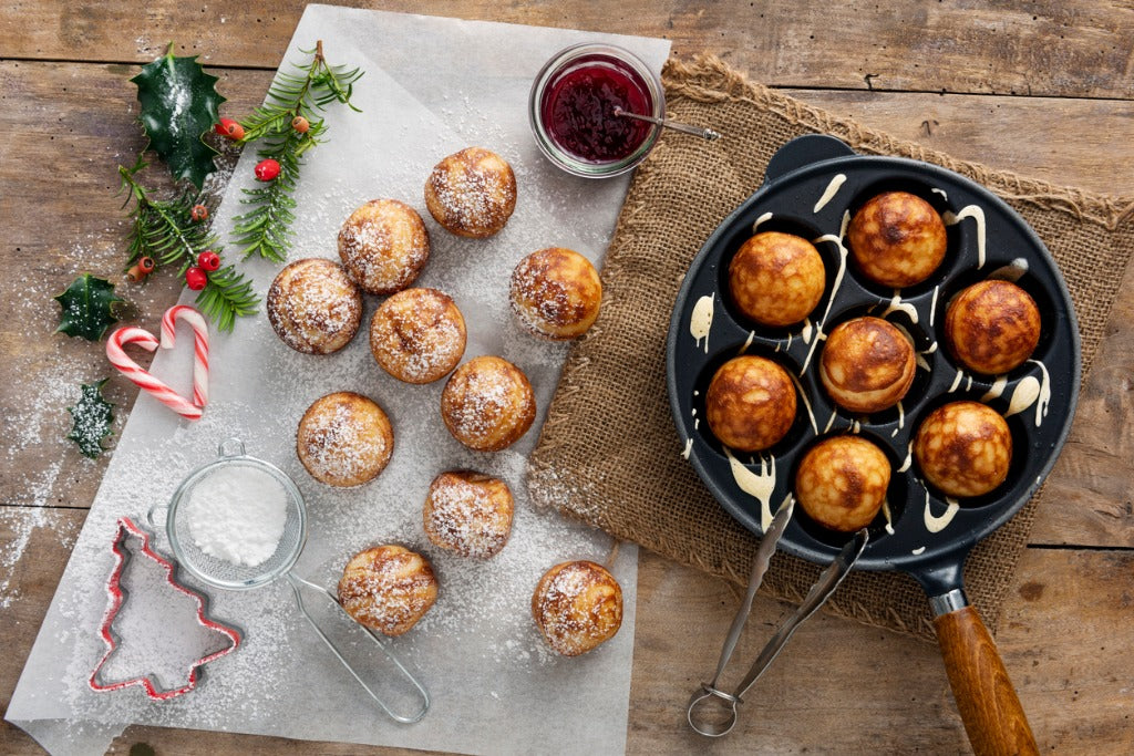 Traditional apple pancakes or Aebleskiver in danish