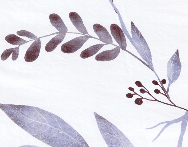Detail of European organic linen duvet cover set white with blue leaves duvet and two pillow cases