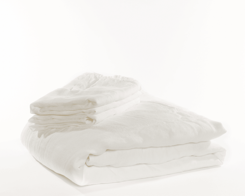 White organic European linen duvet covers set with two matching pillowcases