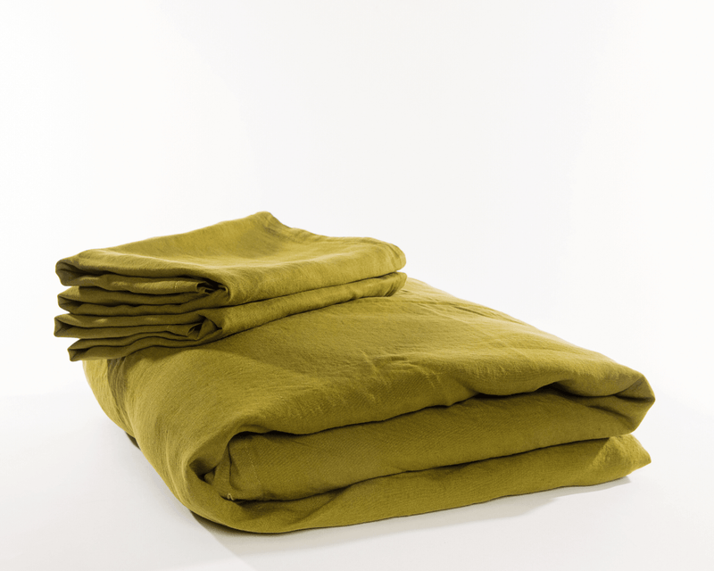 Olive green organic European linen duvet cover set with two matching pillowcases