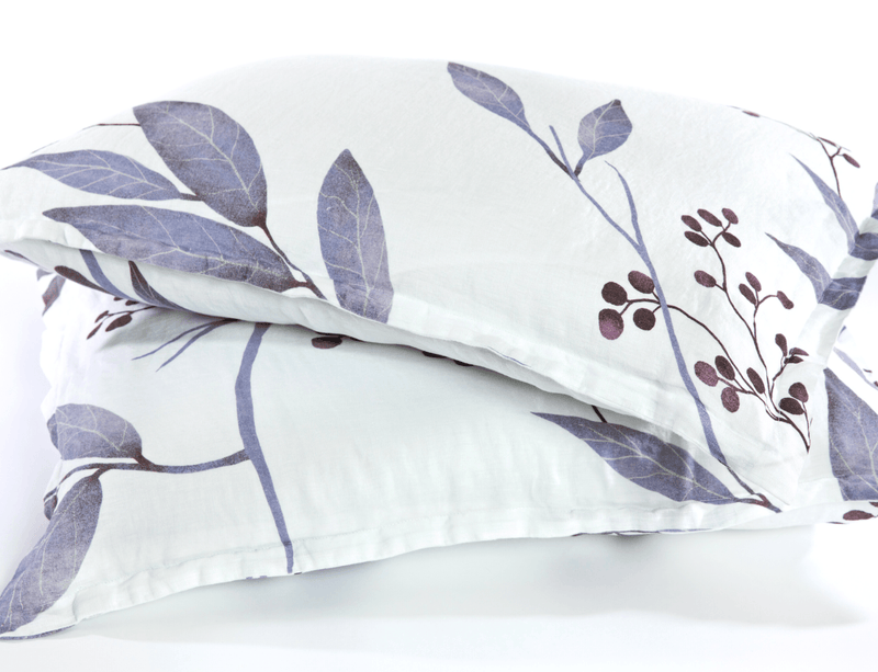 European organic linen pillowcases white with blue leaves