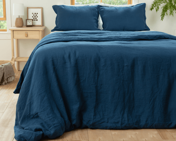 Navy blue organic European linen duvet cover set with two matching pillowcases