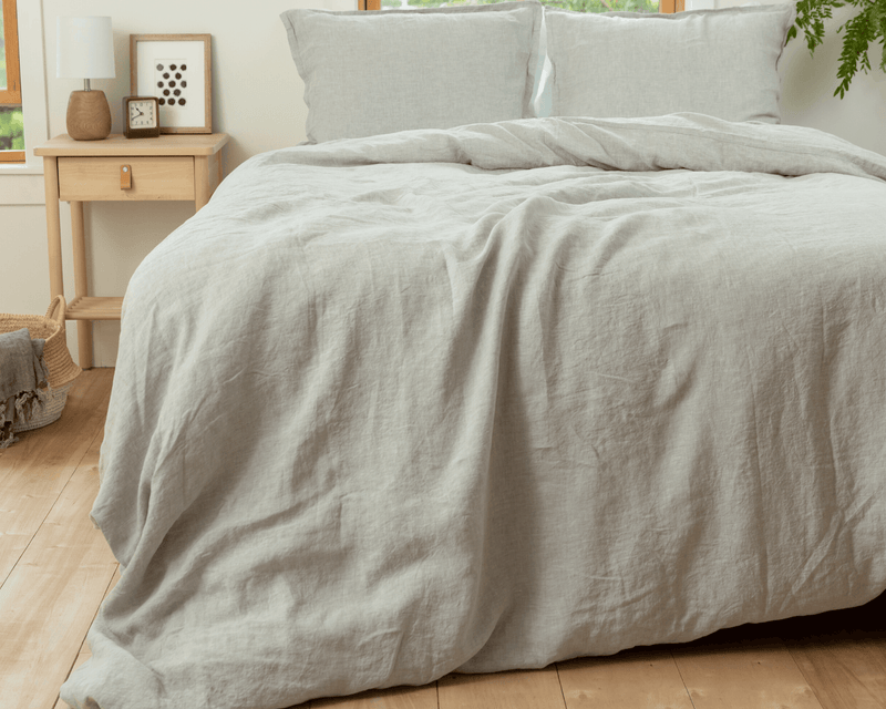 Chambray grey organic European linen duvet cover set with two matching pillowcases