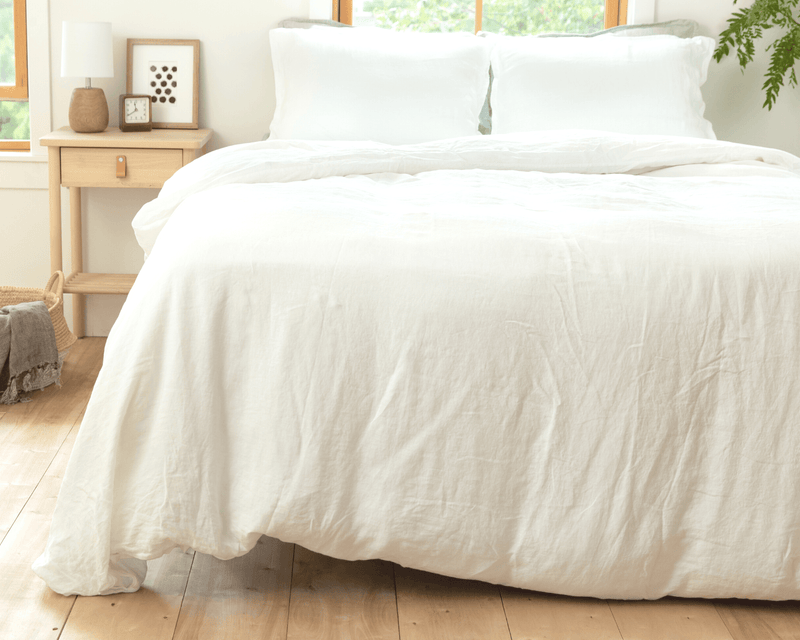 White organic European linen duvet covers set