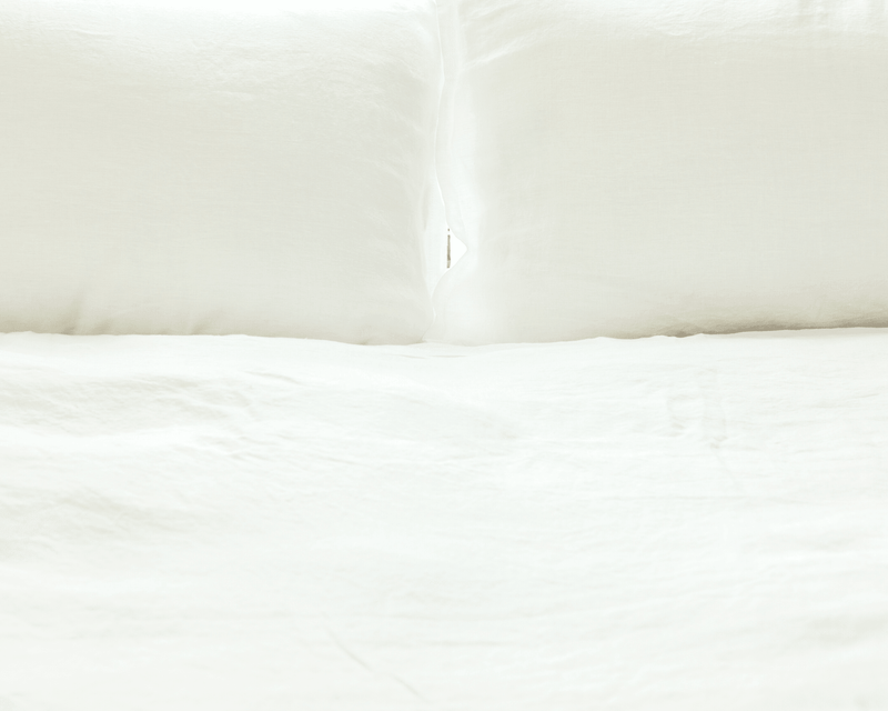 White orrganic European linen duvet cover set closeup