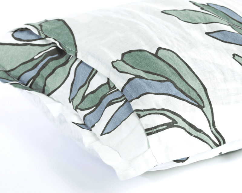 White organic European linen pillowcases with modern Scandinavian design