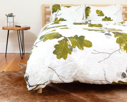 organic european linen duvet cover set with acorn design closeup