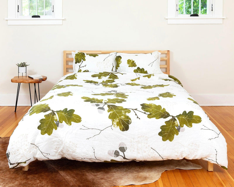 organic european linen duvet cover set with acorn design
