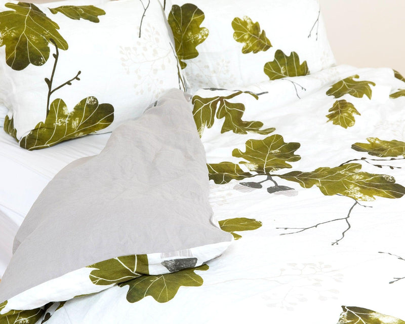 organic european linen duvet cover set with acorn design and grey backside