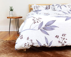 European organic linen duvet cover set white with blue leaves