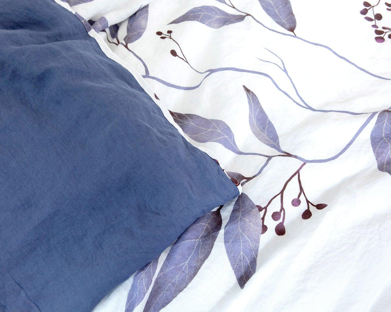 European organic linen duvet cover set white with blue leaves blue inverse side