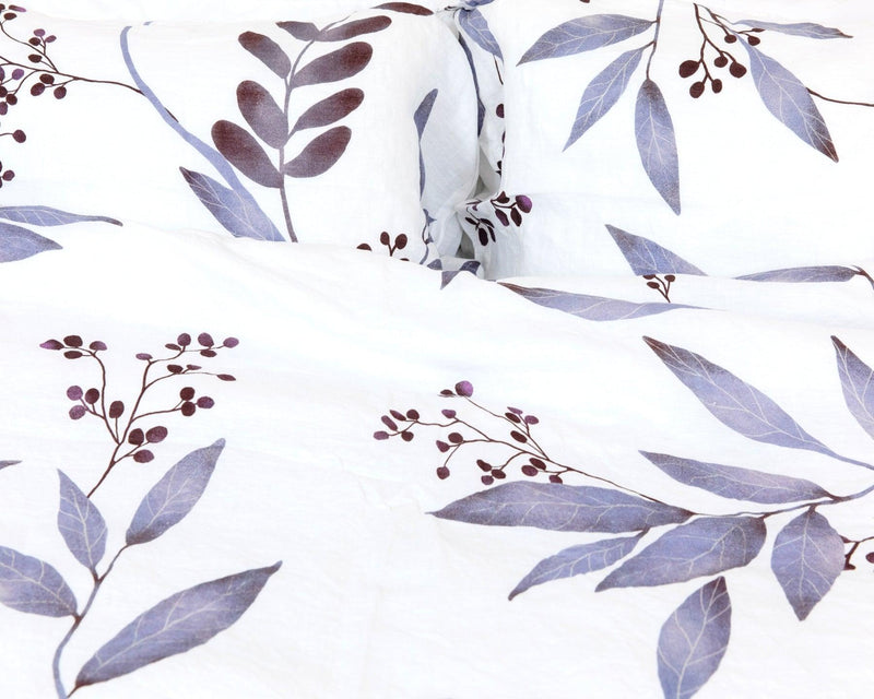 European organic linen duvet cover set white with blue leaves duvet and two pillow cases