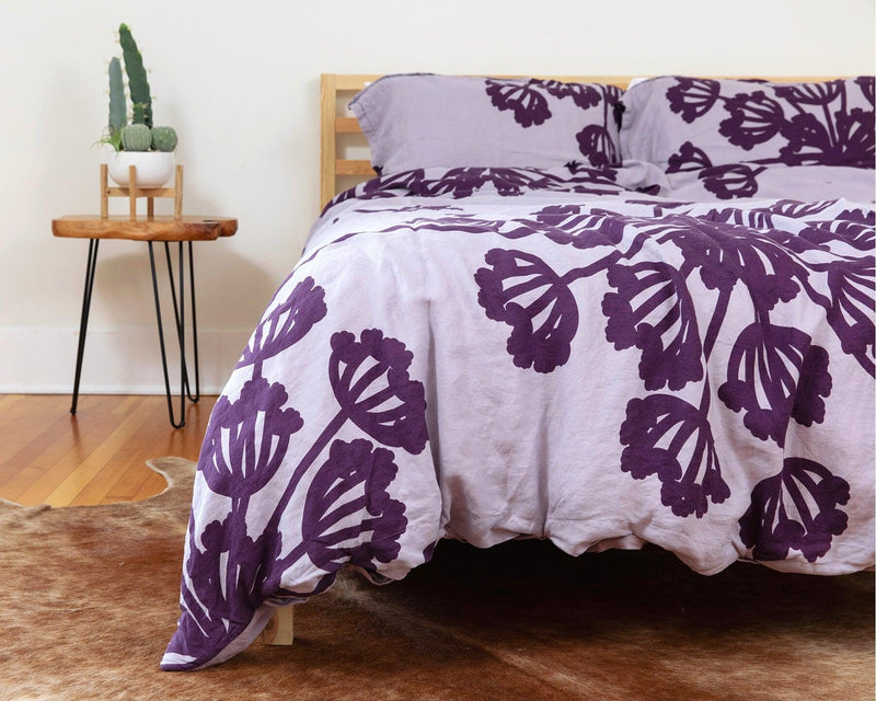 Purple European organic linen duvet cover with two matching pillow cases with floral design