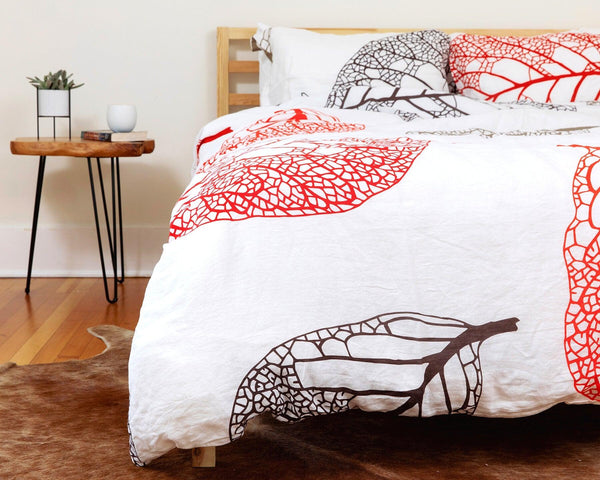 European organic linen duvet cover with two matching pillow cases fall leaves design