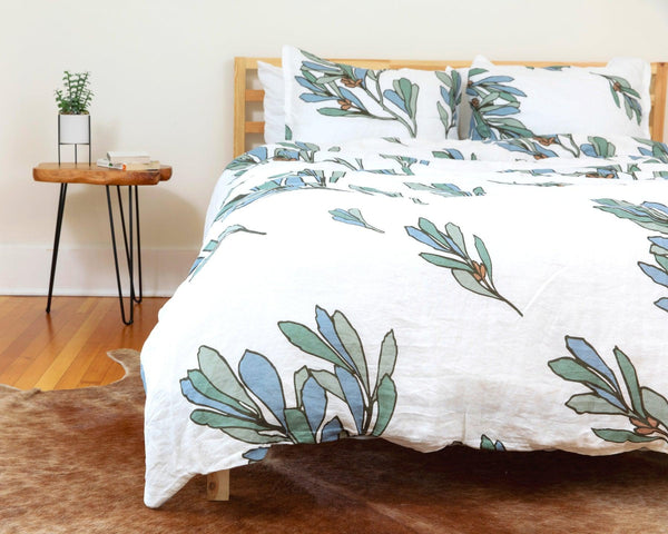European organic linen duvet cover with two matching pillow cases with blue and green floral design