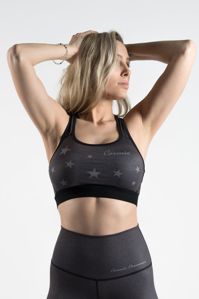 COSMIC DREAMER BLACK HEATHER - SPORTS BRA