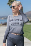 BELIEVE IN YOURSELF - L/S ATHLETIC CROP