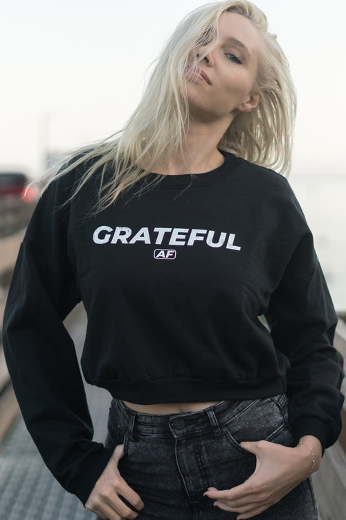 GRATEFUL AF - CROP SWEATER