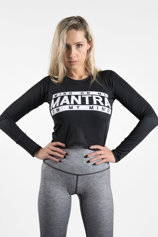 MIND ON MY MANTRA - L/S ATHLETIC CROP TEE