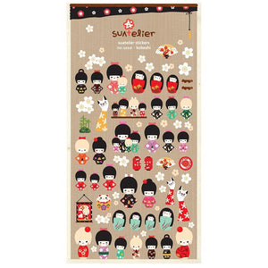 Kokeshi Korean Paper Sticker Sheet