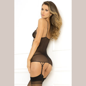 2 Pc. Caged Lace Garter Chemise and G-String Set - Black - Small/medium