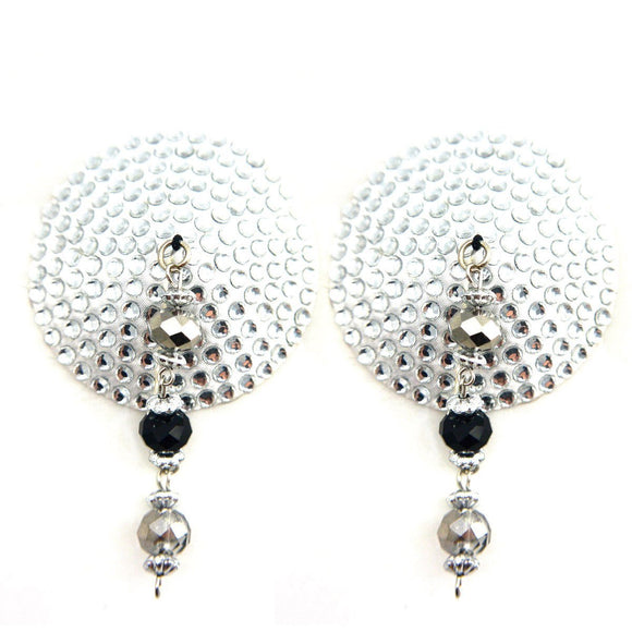 Bijoux de Nip Round Silver Crystal Pasties w/ Faceted Beads