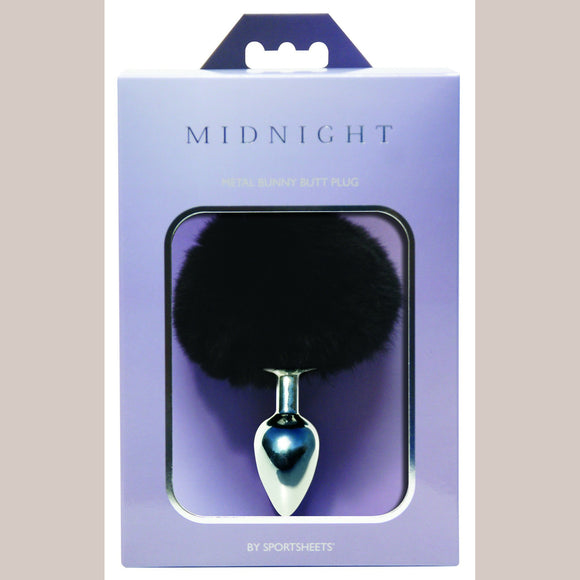 Midnight Metal Bunny Butt Plug - Black