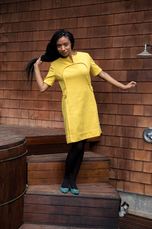 **SOLD** MELLOW YELLOW MIND YOUR OWN CURVES MOD DRESS