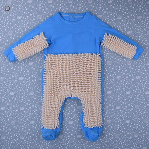 Baby Mop Romper Outfit Unisex Bebe Boy Girl Polishes Floors Cleaning