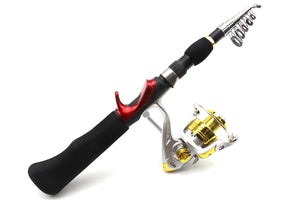 Portable Foldable Spinning Carbon Fishing Rod with Rod Combo Fishing Set
