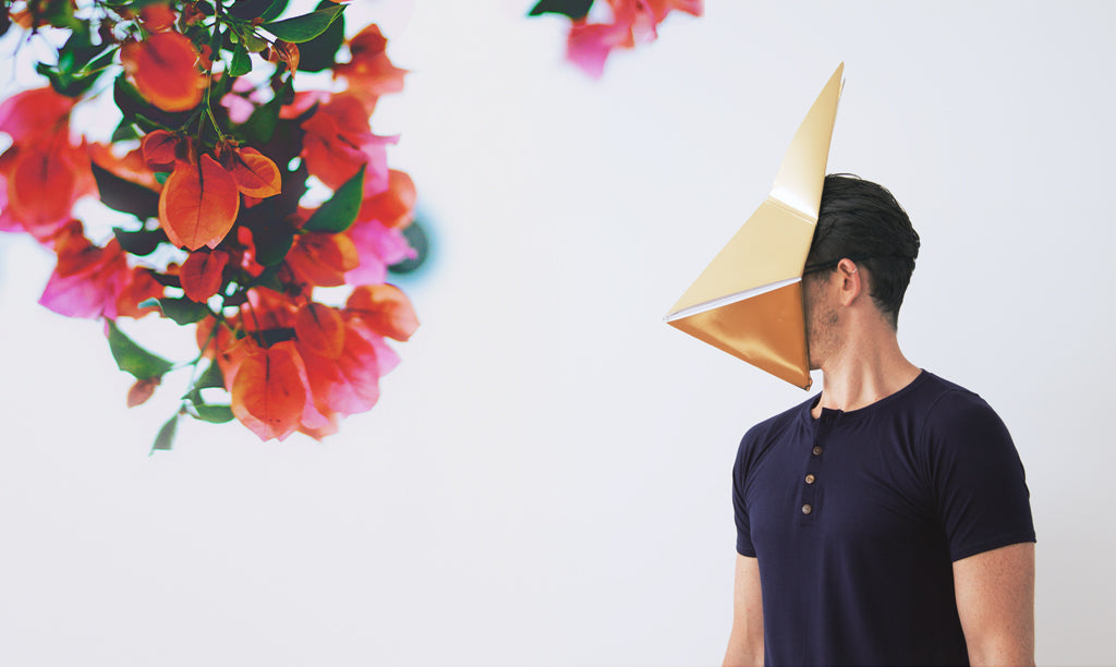 Men's navy t shirt modeled with origami mask - by Zenism