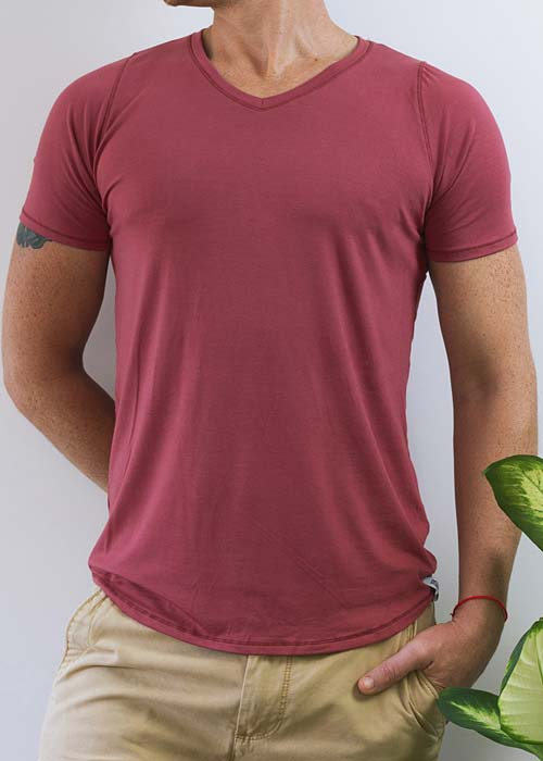 Men's red v-neck t-shirt, with soft and gentle bamboo fabric.