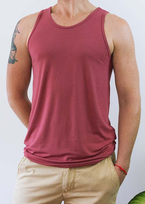 Men's red classic singlet, with soft and gentle bamboo fabric.