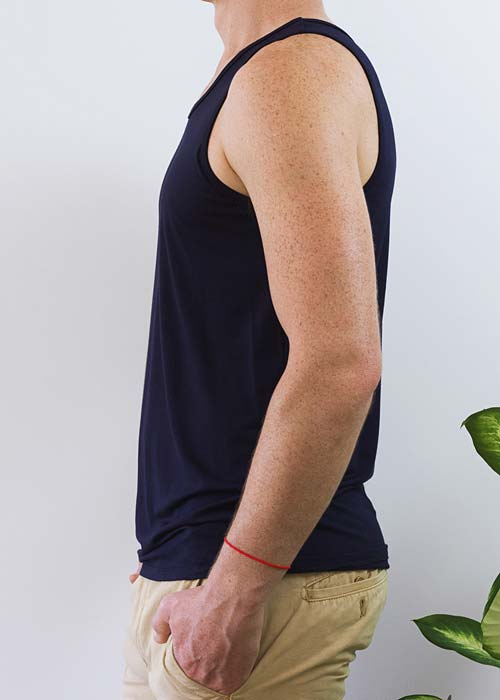Men's navy classic singlet, with soft and gentle bamboo fabric.