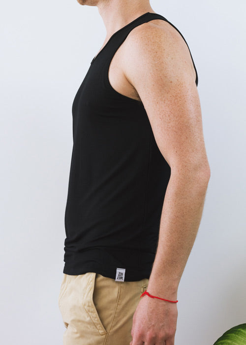 Men's black classic singlet, with soft and gentle bamboo fabric.