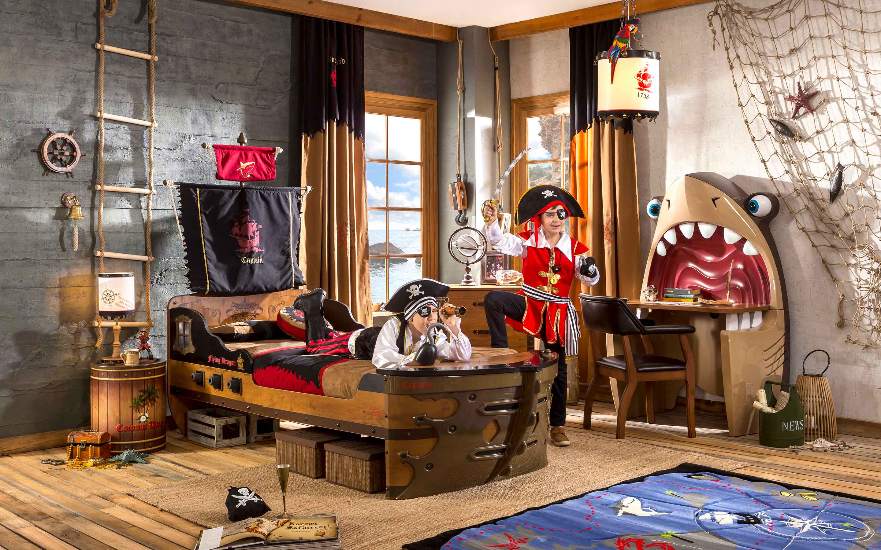 kids pirate ship bed themed bedroom decor  accessories cilek kids room