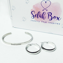 Overcomer Cuff Bracelet and Earrings Inspirational Jewelry Gift Set