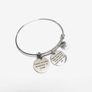 """Live"" Bangle Charm Inspirational Jewelry Bracelet"