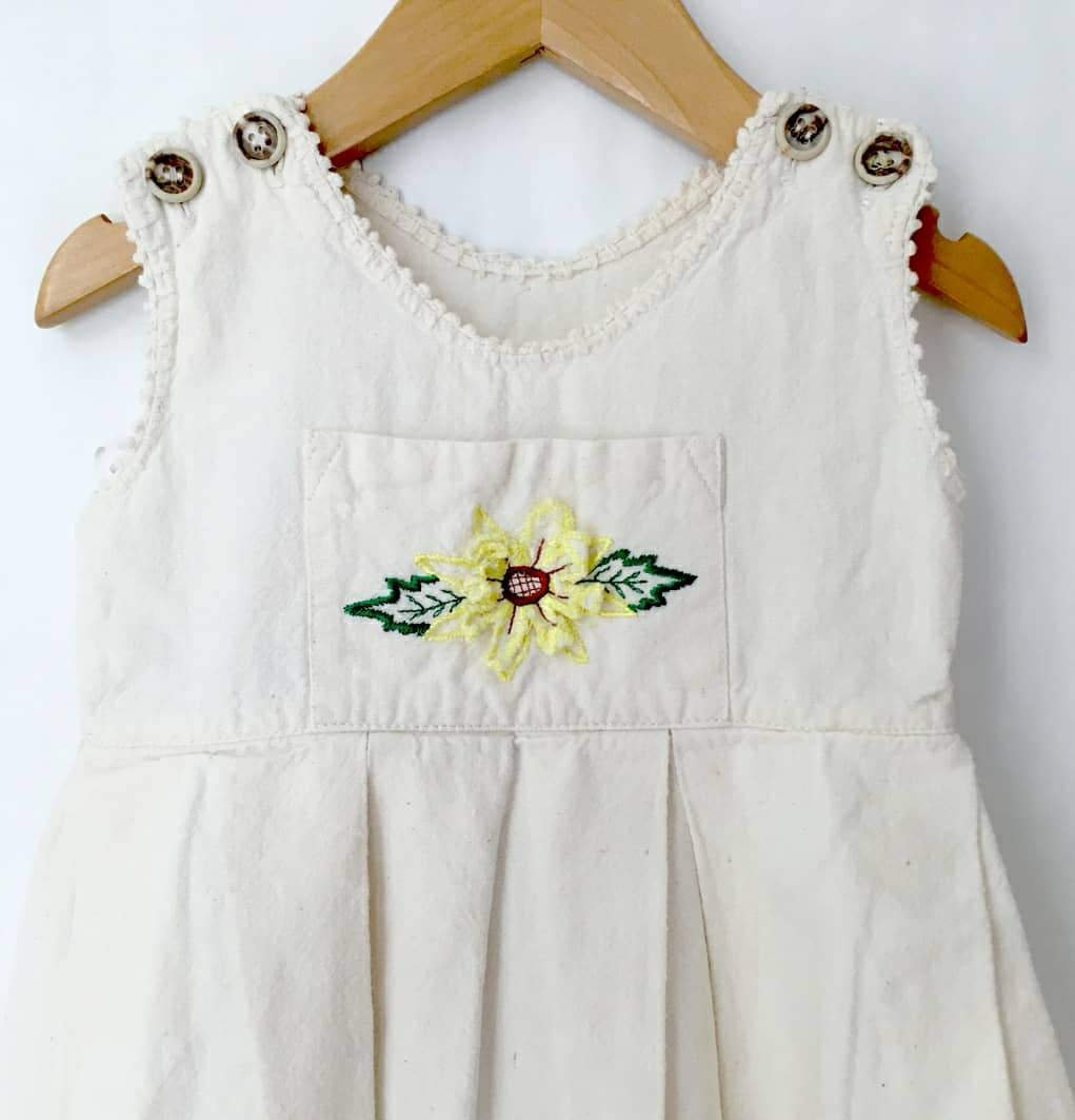 VINTAGE 1980s natural cotton sundress ~ 18 months
