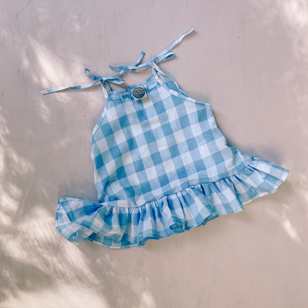 FRANKiE dress ~ sky gingham