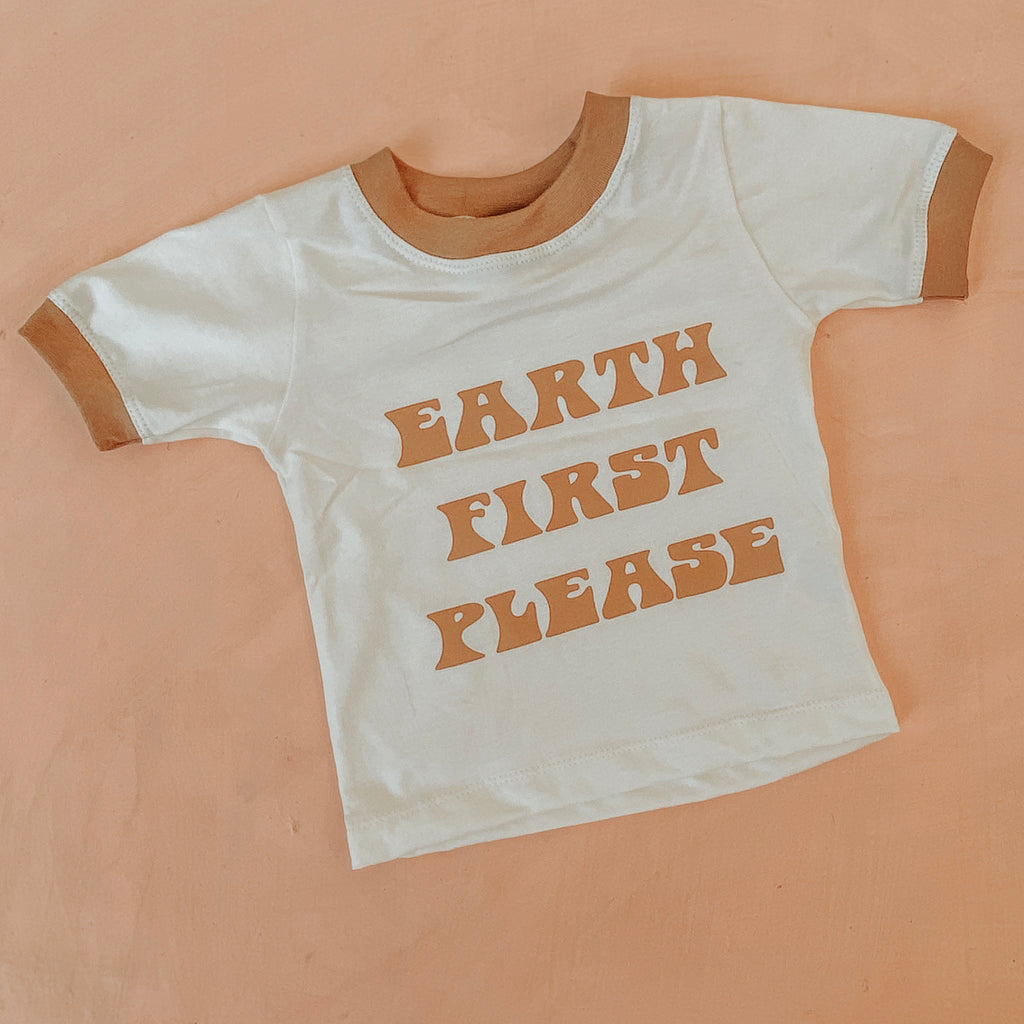 EARTH FiRST PLEASE tee NU x Lennon + birdie~ cream/caramel