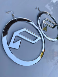 DJ Logo Mirror Earrings-Rave Fashion Goddess