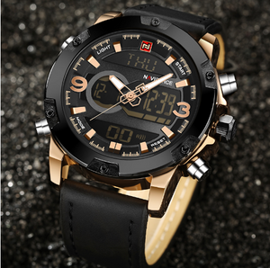 Men Luxury Quartz Analog / Digital Leather Sports Watch