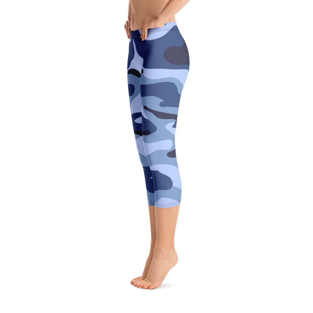 Blue Camo Capri Leggings