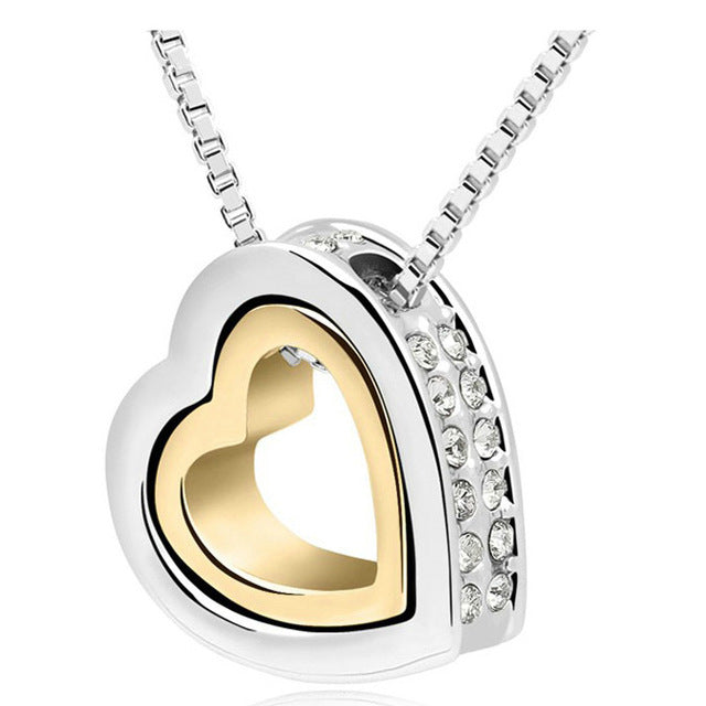 Women Double Heart Rhinestone Pendant Necklace