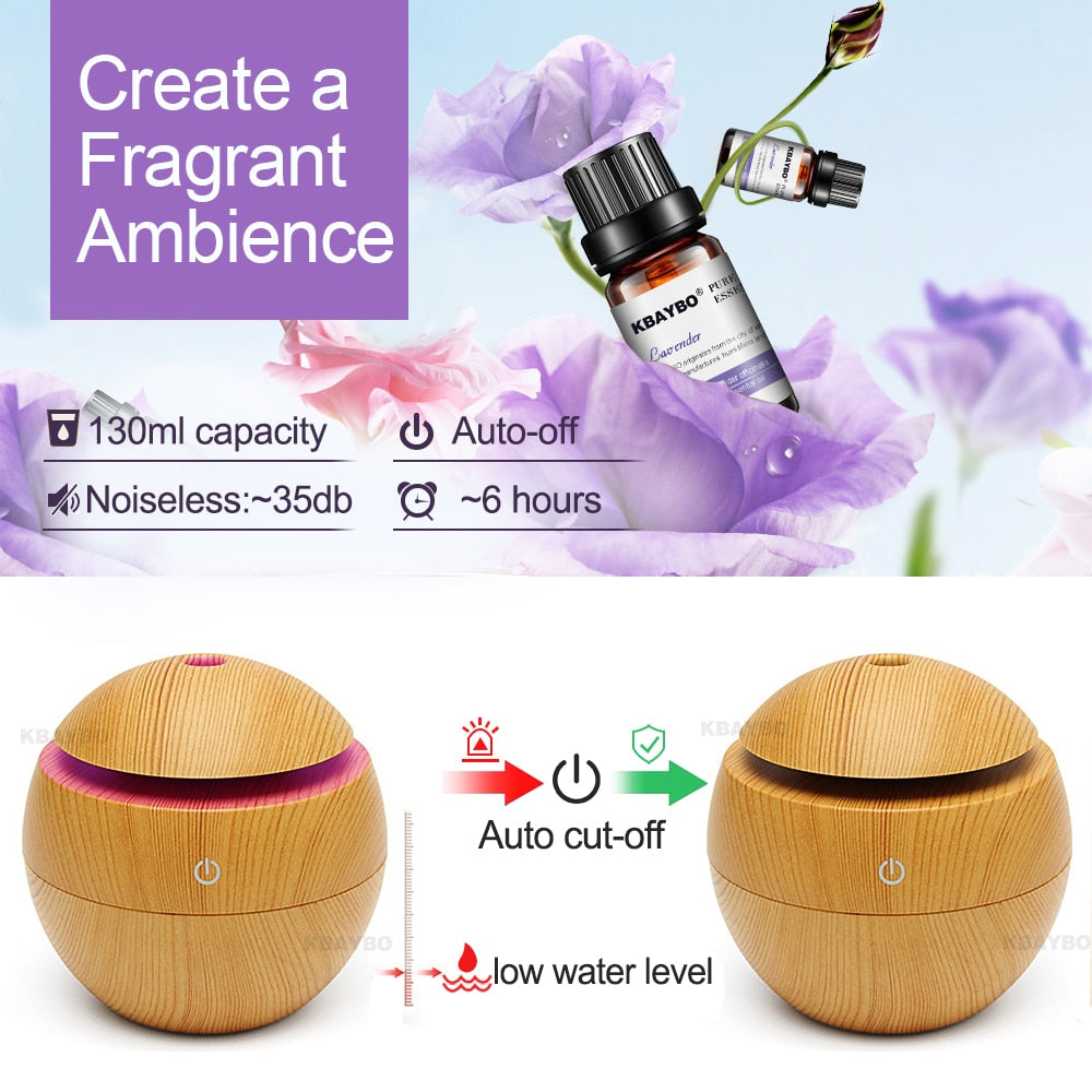 Aroma Essential Oil Diffuser Cool Mist Humidifier with 7 color LED
