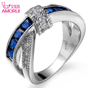 AMORUI Silver Plated Bowknot CZ Stone Rings for Women Jewelry Wedding Bands Black Friday Bague Femme Party Ring Jewellery Gift